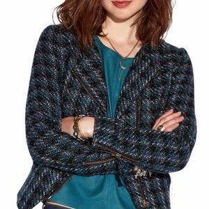 Lucky Brand Blue Tweed Moto Style Jacket